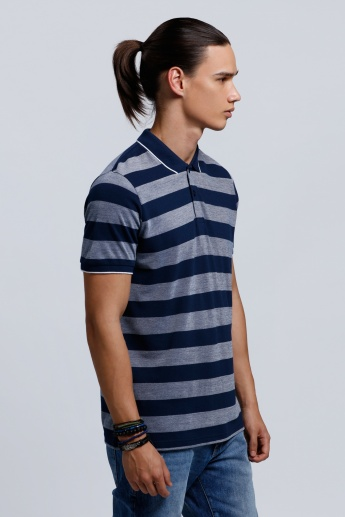 Organic Blend Printed Short Sleeves T-Shirt with Polo Neck