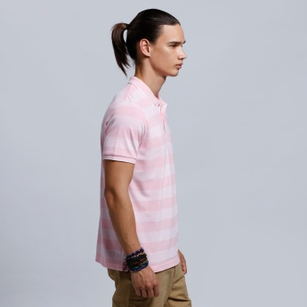 Organic Blend Striped Short Sleeves T-Shirt with Polo Neck