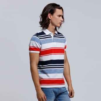 Printed Short Sleeves Polo Neck T-Shirt