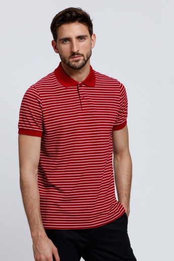 Striped Polo Neck T-Shirt