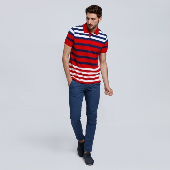 Striped Polo Neck with Short Sleeves