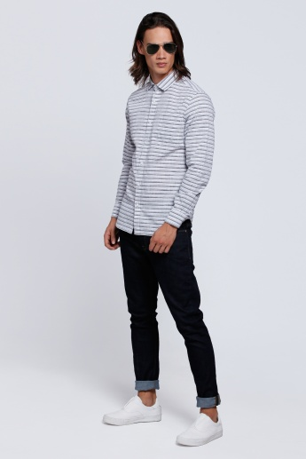Striped Long Sleeves Shirt with Spread Collar