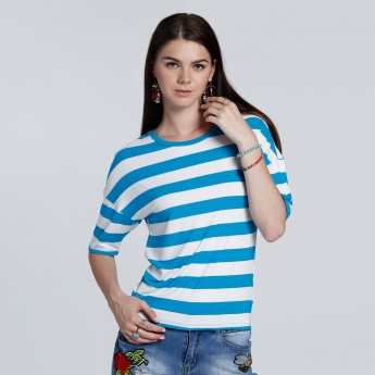 Striped 3/4 Sleeves Round Neck Top