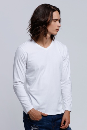 V-Neck T-Shirt with Long Sleeves