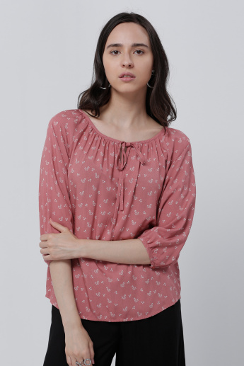 Printed Top with 3/4 Sleeves and Tie-Up Detail