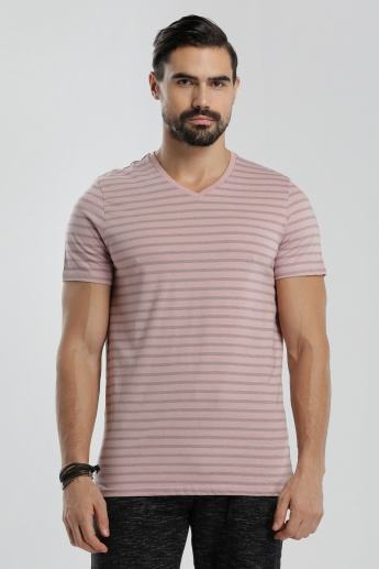Sustainability Sustainability  Printed V-Neck T-Shirt with Short Sleeves