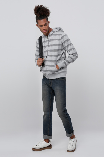 Striped Long Sleeves Knit Jacket with Hood