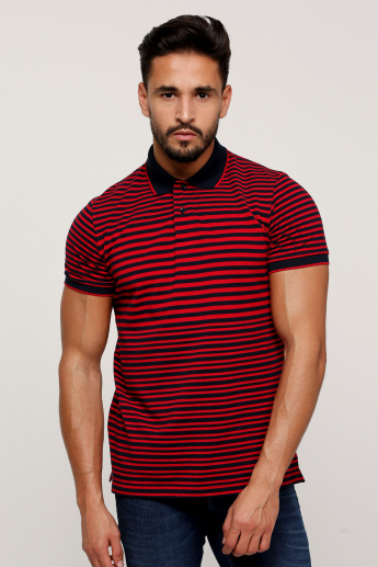 Sustainability Striped T-Shirt with Polo Neck and Short Sleeves
