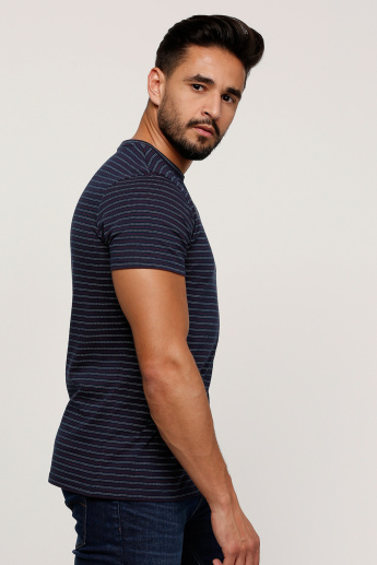 Sustainability Striped T-Shirt with Round Neck and Short Sleeves