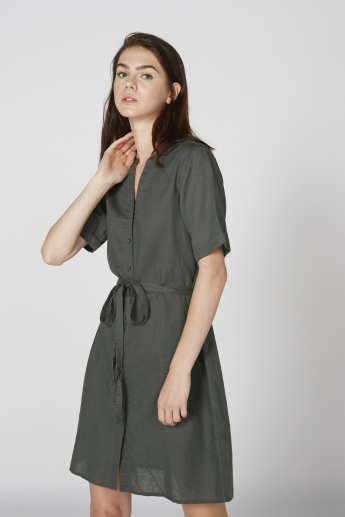 Midi Shirt Dress with Complete Placket and Tie Up Detail