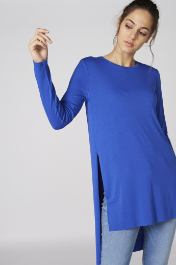 Long Sleeves Tunic with High Low Hem and Side Slit