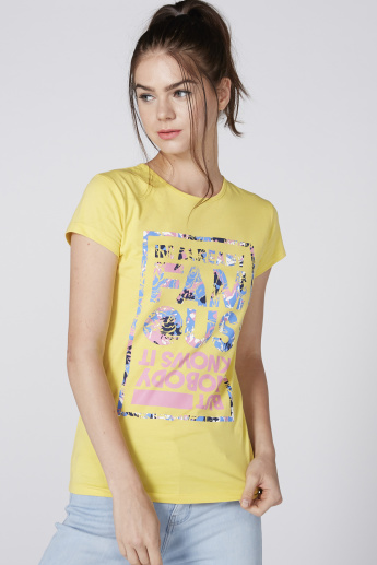 Printed T-Shirt with Cap Sleeves