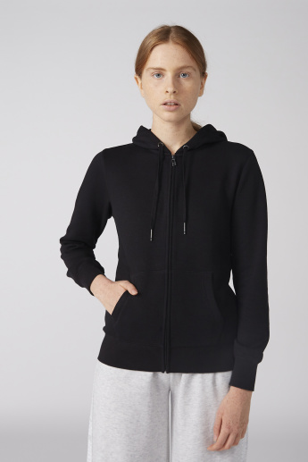 Pocket Detail Jacket with Hood and Zip Closure