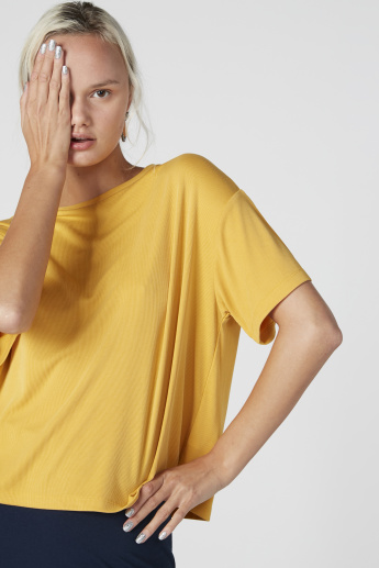 Round Neck Top with Drop Shoulder Sleeves