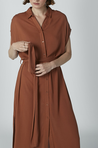 Solid A-line Shirt Dress with Cap Sleeves and Tie Ups
