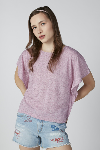 Basic Top with Round Neck and Flared Sleeves