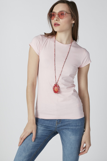 Solid T-shirt with Round Neck and Cap Sleeves