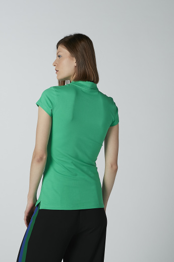 Plain T-shirt with Polo Neck