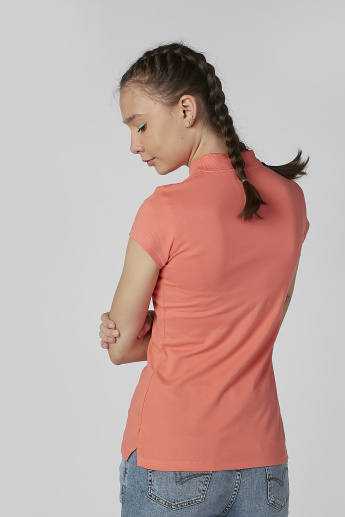 Plain T-shirt with Polo Neck and Cap Sleeves