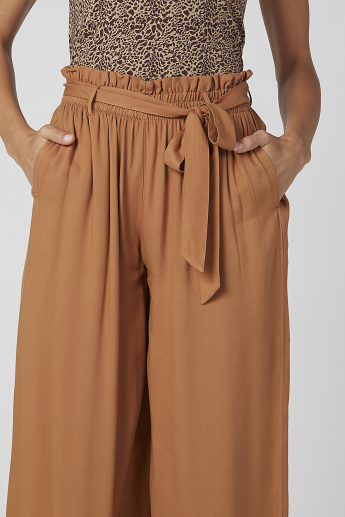 Sustainability Plain Flexi Waist Palazzo Pants with Tie Ups