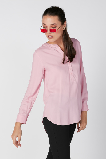 Plain Longline Shirt with V-neck and Long Sleeves
