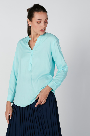 Plain Top with Long Sleeves and Half Placket