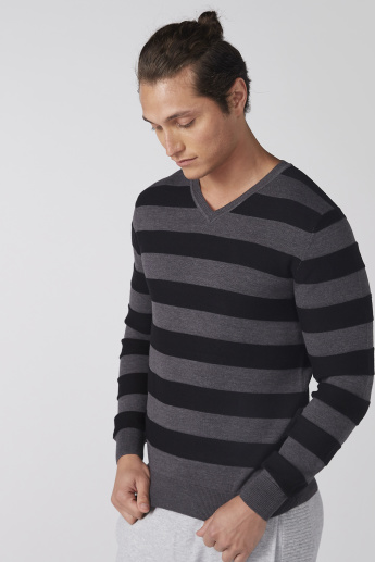 33071df03af Striped Sweater with V-Neck and Long Sleeves