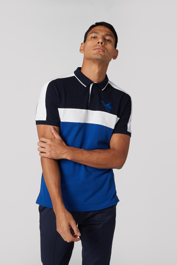 Colour Block Panel Detail T-Shirt with Polo Neck and Short Sleeves