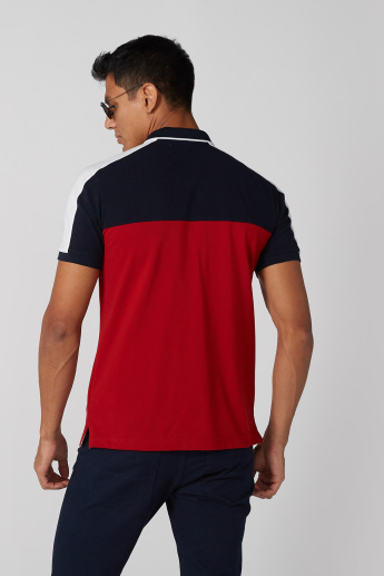 Cut and Sew Polo Neck T-Shirt with Short Sleeves