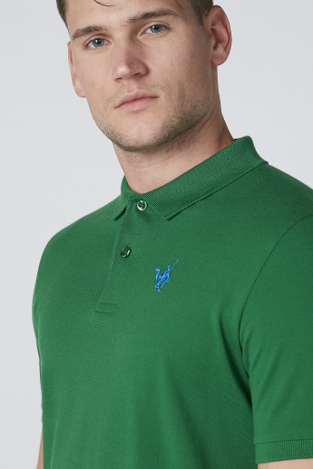 Polo Neck T-Shirt in Regular Fit with Short Sleeves