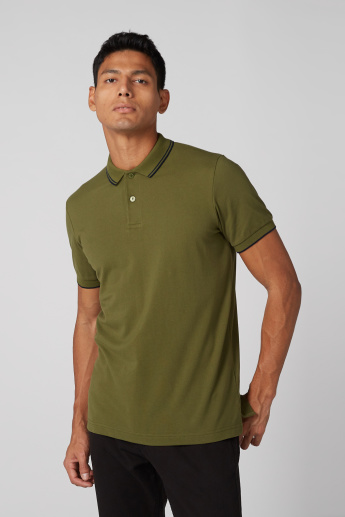 Polo Neck T-Shirt with Tipped Collar and Short Sleeves