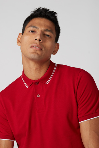 Polo Neck T-Shirt with Tipped Collar