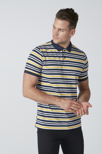 Striped Polo Neck T-Shirt in Regular Fit
