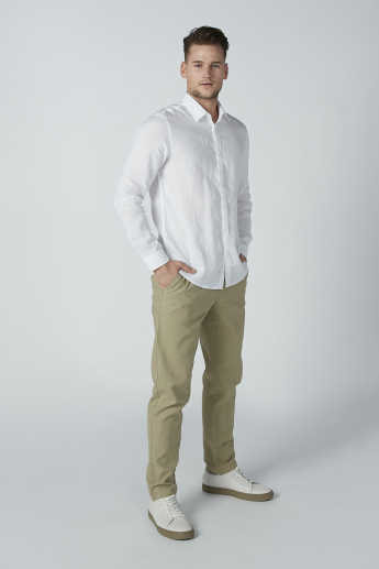 Solid Shirt with Long Sleeves and Spread Collar