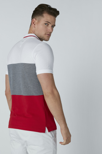 Colourblock Polo Neck T-shirt with Short Sleeves