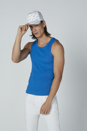 Textured Sleeveless T-shirt with Scoop Neck