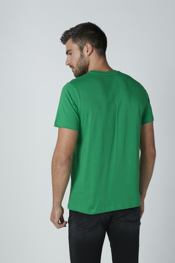 Sustainability Printed T-shirt with Short Sleeves and Crew Neck