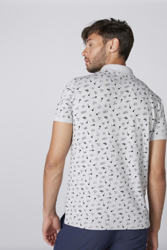 Printed T-Shirt with Polo Neck and Short Slevees