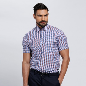 Chequered Shirt with Short Sleeves and Patch Pocket