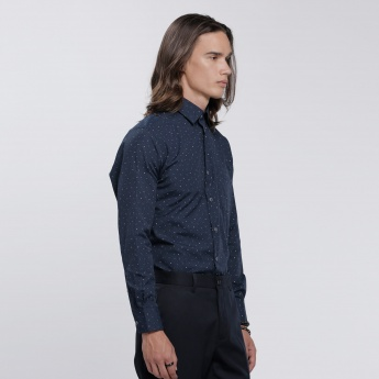 Printed Shirt with Long Sleeves and Pocket Detail
