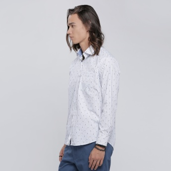 Striped Shirt with Embroidery and Long Sleeves
