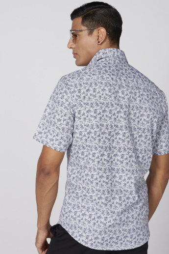 Floral Printed Shirt with Short Sleeves and Complete Placket