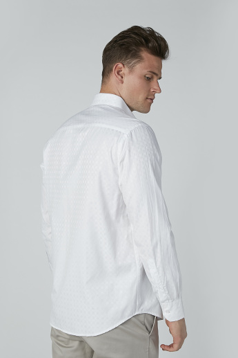 Textured Shirt with Long Sleeves and Chest Pocket Detail