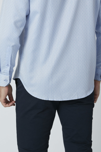 Textured Formal Shirt with Chest Pocket Detail and Long Sleeves