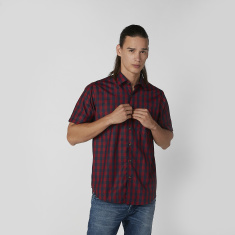Chequered Shirt with Short Sleeves and Chest Pocket