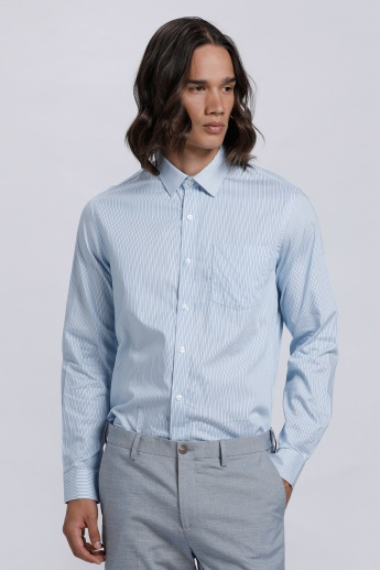 Striped Shirt with Long Sleeves and Patch Pocket