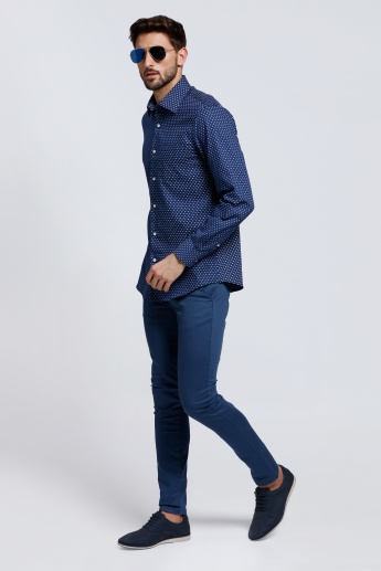 Arrow Printed Long Sleeves Shirt with Complete Placket on the Front