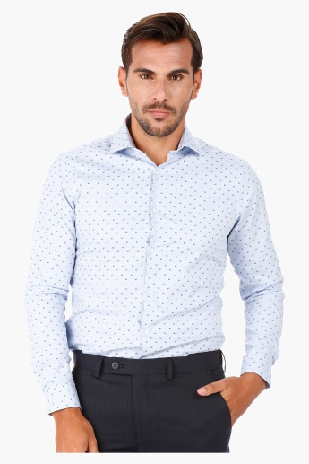 Printed Formal Shirt with Cut-away Collar and Long Sleeves