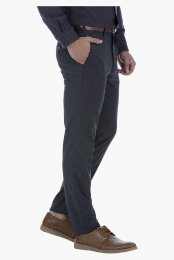 Textured Slim Fit Trousers with Belt