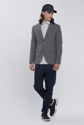 Notch Collar Blazer with Long Sleeves and Flap Pockets